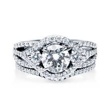 BERRICLE Sterling Silver Round CZ 3-Stone Engagement Ring Set 2.22 Carat