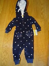 Carters Baby Girl Size Newborn 9 MONTHS Fleece Outfit OnePiece Coverall Blue NWT