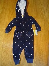 Carters Baby Girl Size Newborn/ 9 MONTHS Fleece Outfit One-Piece Coverall  NWT