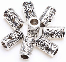 25/50Pcs Tibetan Silver Tube Charm Loose Spacer Beads Bracelet Jewelry Finding