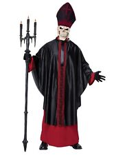 Mens Black Mass Pope Skeleton Death Grim Reaper Executioner Adult Costume Scary