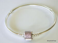 AUTHENTIC PANDORA SIGNATURE CLASP BRACELET #590723CZS FANCY PINK 18CM  BOX INCL