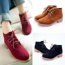 Women Ladies Motorcycle Boots Low Heel Flat Platform Ankle Booties Lace Up Shoes