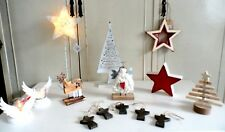 Shabby chic Christmas Decorations Angel  Wing Star Tealights Reindeer Stag Tree