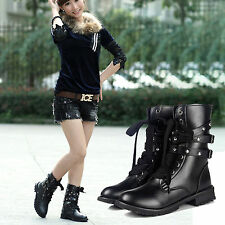 Womens Lace Up Winter Mid-Calf Biker Motorcycle Boots Flat Military Combat Shoes