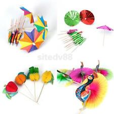 Cocktail Drink Sticks Parasol Umbrella/Peacock/Fruit Cake Picks Birthday Decor