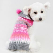 Pet Dog Puppy Pink Hoodie knit Sweater Pullover Coat Clothes Apparel Size XXS-L