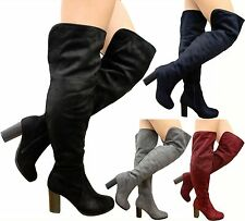 New Ladies Womens Over The Knee Thigh High Fold Cuff Block Heel Boots Shoes Size