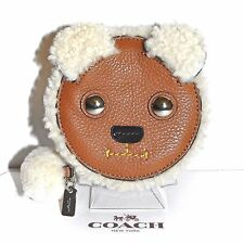 COACH New York Leather & Shearling Cute Teddy Bear Coin Purse Wallet NWT