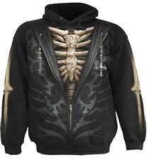 Spiral Direct UNZIPPED Hooded,Skeleton/Biker/Halloween/Gothic/Pullover/Hoodie