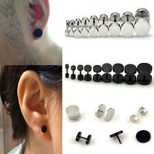 1Pair Men Punk Stainless Steel Round Plain Ear Stud Barbell Earring Jewelry