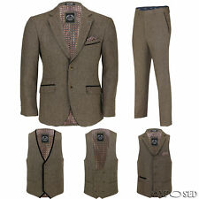 Mens Tan Wool Mix Tweed 3 Piece Suit Sold Separately Blazer Trouser Waistcoat