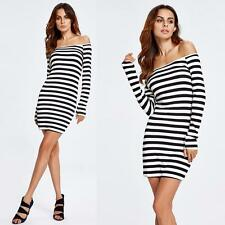Women Mini One Piece Dress Bodycon Long Sleeve Sexy Off Shoulder Cocktail Y3A8