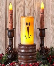Snowman LED Candles Primitive Rustic Taper Pillar Nostalgic Christmas Winter NEW