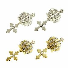 NWOT Elegant Crown&Cross Design Pierced Earrings with Crystal Rhinestone ER014