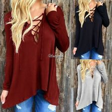 Fashion Women Casual Loose V-Neck Cotton Blend Shirt Tops Blouse T-shirt UTAR