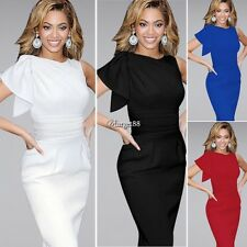 V-neck Women Sleeveless Package Hip Bodycon Ruffles Decor Knee Length Dress UTAR