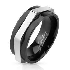 Coolbodyart Stainless Steel Unisex Ring Silver black 8mm wide Hexagon Line