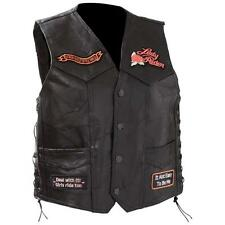 Diamond Plate Ladies' Rock Design Genuine Leather Vest Motorcycle Biker Vest