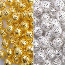 100Pcs Metal Gold /Silver Plated Filigree Spacer Beads Jewelry DIY 4 6 8 10 12MM