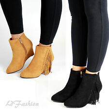 New Womens Suede Look Hidden Wedge High Heel Ankle Boots Fringe Ladies Shoes