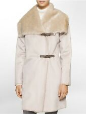 calvin klein womens belted faux shearling toggle coat jacket