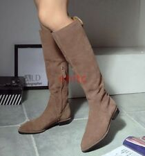Fashion Suede Slim Leg Knee High Slouch Boots Women's Flats Riding Boot Shoes