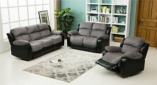 New California Electric Jumbo Cord Faux Leather Sofa - Grey / Black - 3 2 1