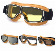 Yellow New Motorcycle Vintage Aviator Pilot Bikes Racing Goggles Helmet Glasses