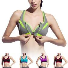 Women Yoga Sports Bra Tops Front Closure Fitness Tank Top Exercise Racerback