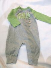 NWT BABY GAP Boys Gray Green Logo One Piece Romper 3-6m, 6-12m, 18-24m