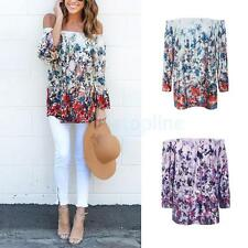 Phenovo Women Sexy Floral Off Shoulder Shirt Casual Blouse Long Tops T-shirt Tee