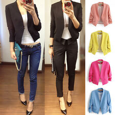 Fashion Women Slim Fit Casual Business Blazer Suit Candy Color Jacket Short Coat