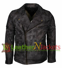 Men's Brando Biker Motorcycle Vintage Distressed Grey Winter Leather Jacket.