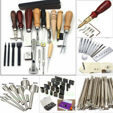 Leather Craft Tool Punch Stitching Carving Sewing Saddle Groover Stamps Tool Lot