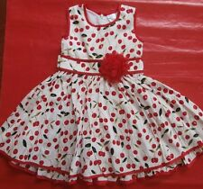 BNWT GIRLS SUMMER 100% COTTON WHITE & RED CHERRY PARTY DRESS - SIZE 3 TO 8
