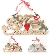 Christmas Merry XMAS Hanging Sign Plaque Holly Gingham Wall Door Decoration