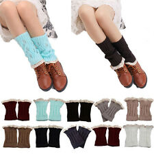 Handmade Lady Crochet Knit Lace Trim Leg Warmers Cuffs Toppers Boot Ankle Tube