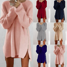 Womens Long Sleeve Jumper Tops Warm Sweater Blouse Loose Mini Bodycon Dress