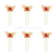 Pack of 6 Wedding Bridal Butterfly Crystal Hair Pins