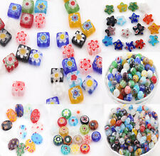 20/50Pcs Mixed Shape Millefiori Glass Craft Beads Multi-Color Loose Spacer Beads