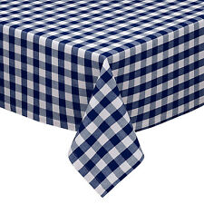 Navy & White Cotton Rich Checkered Kitchen Tablecloth: Gingham/Plaid Design