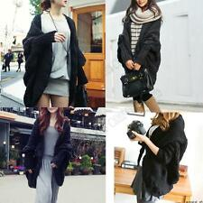 Womens Ladies Batwing Cardigan Poncho Long Sleeve Sweater Coat Knitwear Cape Top