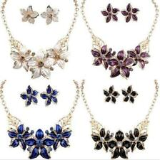 Jewelry Crystal Flower Set Statement Woman Necklace Charm Earrings