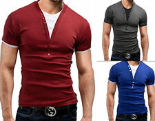 Fake two Pieces Deep v-Neck T-Shirt Hot Fashion Men Summer Slim short sleeve