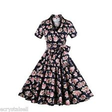 ZAFUL Womens Floral Rockability Vintage Style Housewife Swing Skater Dress S-4XL