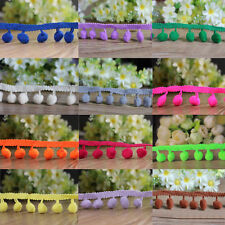 1 Yard Ball Pom Pom Bobble Trim Braid Fringe Ribbon Edging Craft Decoration 10mm