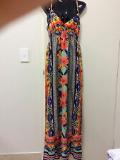 GORGEOUS DRESSY VIBRANT MULTI COLOURED SILKY LOOKING MAXI DRESS SIZE 14