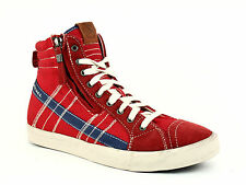 Diesel D-STRING Men's High Top Casual Fashion Suede/Textilel Sneakers Tango Red