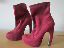 LADIES ASOS SEXY RED SUEDE ANKLE BOOT SIZE3 36 BLOCK COURT HIGH HEEL PARTY SHOES